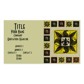 La antigüedad tejó la flor de lis (el amarillo) plantillas de tarjetas de visita
