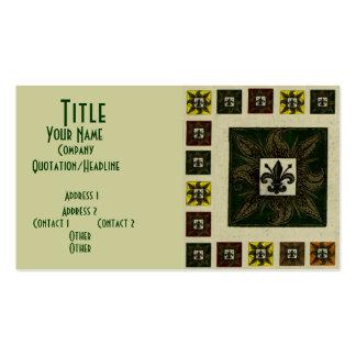 La antigüedad tejó la flor de lis (el verde) tarjeta personal