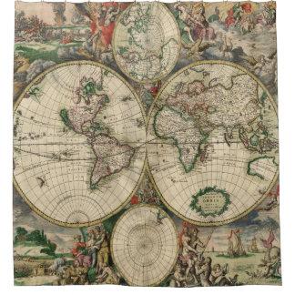 La antigüedad traza mapas del vintage del Viejo Cortina De Baño