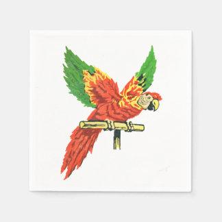 La antigüedad tropical colorida del loro inspiró servilleta de papel
