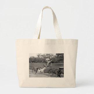 La antigüedad va carro, 1900s tempranos bolsa tela grande