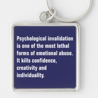 La anulación psicológica es una la mayoría… llavero cuadrado plateado