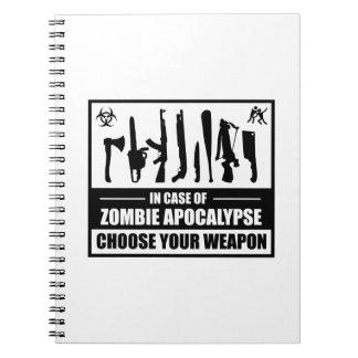 La apocalipsis del zombi elige su arma cuadernos