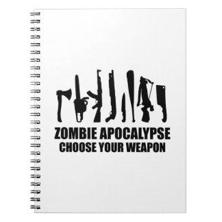 La apocalipsis del zombi elige su arma libretas
