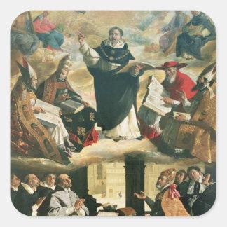 La apoteosis de St Thomas Aquinas, 1631 Pegatina Cuadrada