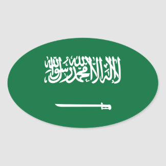 La Arabia Saudita/bandera árabe Pegatina Ovalada