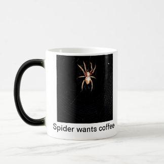 La araña quiere el café taza mágica