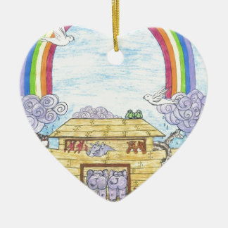 La arca de Noah Adorno Navideño De Cerámica En Forma De Corazón