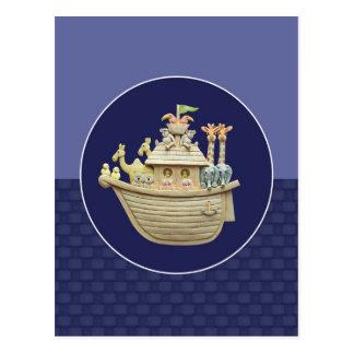 La arca de Noah azul Tarjeta Postal