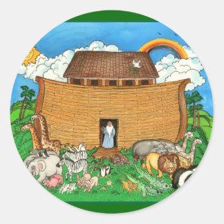 La arca de Noah con el arco iris Pegatina Redonda