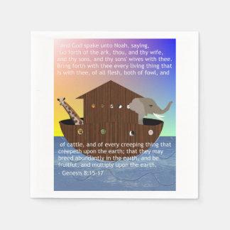 La arca de Noah con escritura de la génesis Servilletas Desechables