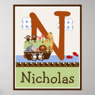 La arca de Noah pares animales iniciales poster co