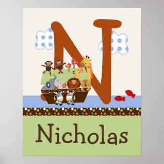 La arca de Noah/pares animales iniciales/poster co Póster