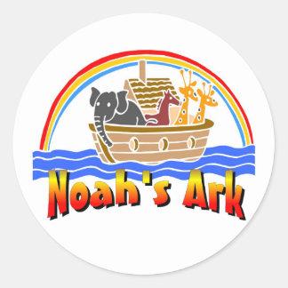 La arca y el arco iris de Noah Pegatina Redonda