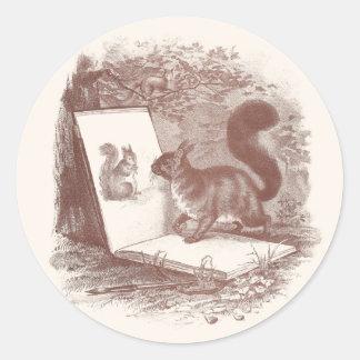 La ardilla admira el bosquejo del uno mismo pegatinas redondas