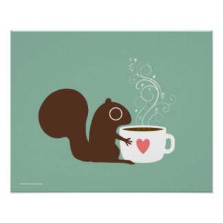 La ardilla ama el café póster
