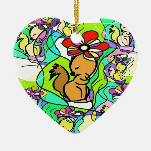 La ardilla y la flor adorno navideño de cerámica en forma de corazón