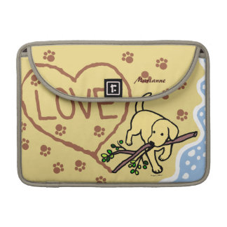 La arena amarilla de Labrador pone letras al dibuj Fundas Macbook Pro