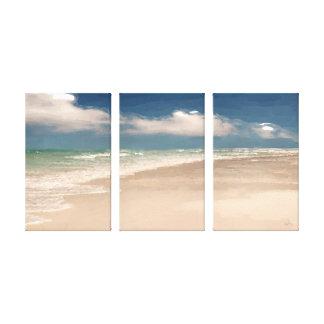 La arena/la resaca y la arena de los Olas y envolv Impresión En Lona Estirada