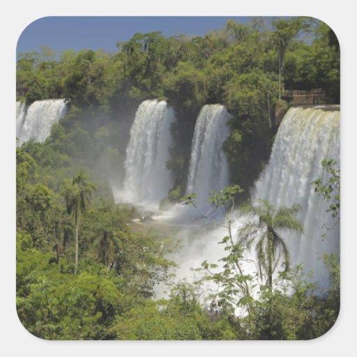 La Argentina, Iguacu cae en sun. Pegatina Cuadrada