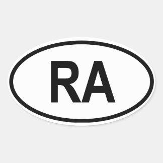 "La Argentina ""RA "" Pegatina Ovalada"