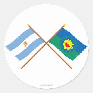 La Argentina y banderas cruzadas Buenos Aires Pegatina Redonda