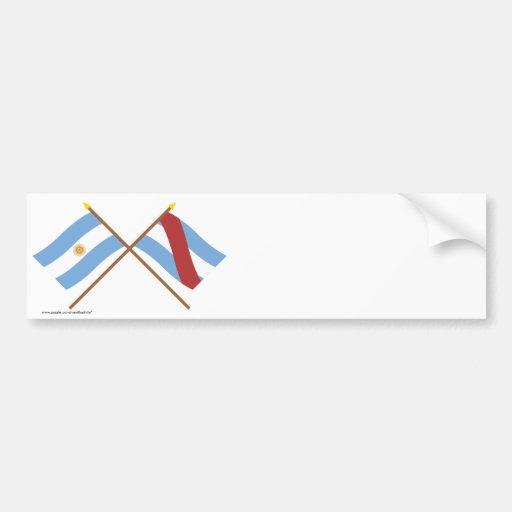 La Argentina y banderas cruzadas Ríos de Entre Pegatina De Parachoque
