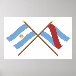 La Argentina y banderas cruzadas Ríos de Entre Posters