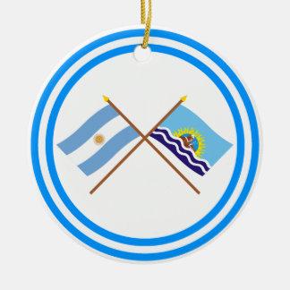 La Argentina y banderas cruzadas Santa Cruz Ornamente De Reyes