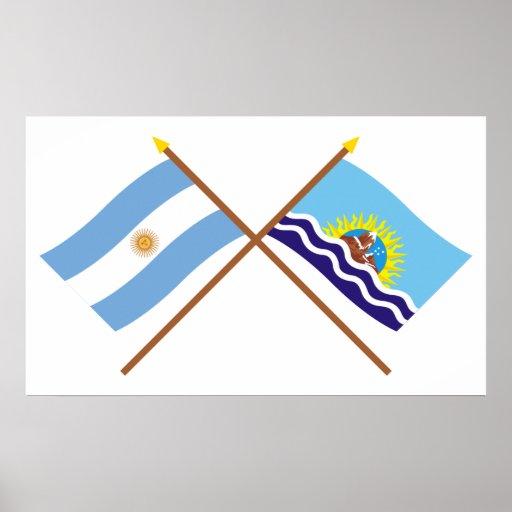La Argentina y banderas cruzadas Santa Cruz Póster