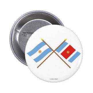 La Argentina y banderas cruzadas Santiago del Este Pin Redondo 5 Cm