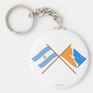 La Argentina y banderas cruzadas Tierra del Fuego Llavero
