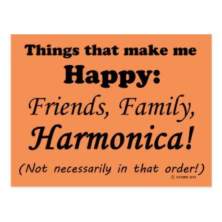 La armónica me hace feliz tarjeta postal