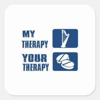 La arpa CÉLTICA es mi terapia Pegatina Cuadrada