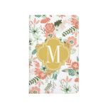 La arpillera florece floral botánico cuaderno grapado