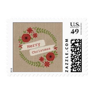 La arpillera inspiró franqueo floral del navidad d sellos postales