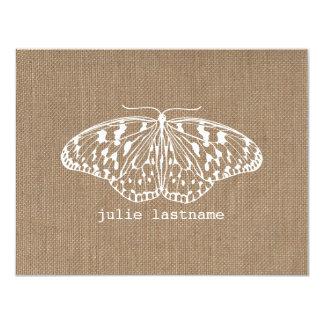 La arpillera inspiró la mariposa Notecards plano Invitación 10,8 X 13,9 Cm