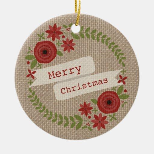 La arpillera inspiró navidad floral de la adorno redondo de cerámica
