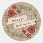La arpillera inspiró navidad floral de la guirnald etiqueta