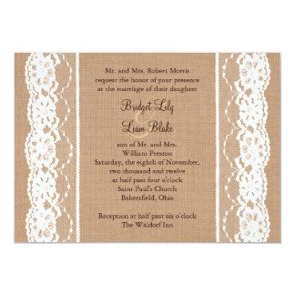 La arpillera media y el boda del cordón del invitación 12,7 x 17,8 cm