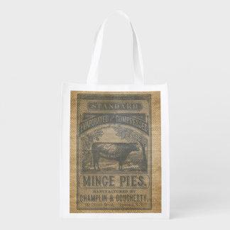 La arpillera pica el anuncio del vintage de las bolsas de la compra