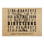 La arpillera ramifica reunión de familia del árbol invitación 12,7 x 17,8 cm