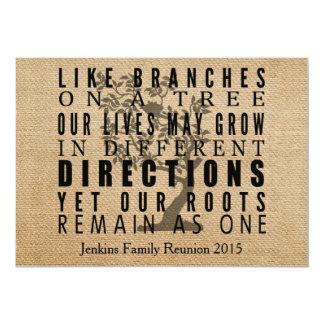 """La arpillera ramifica reunión de familia del árbol invitación 5"""" x 7"""""""