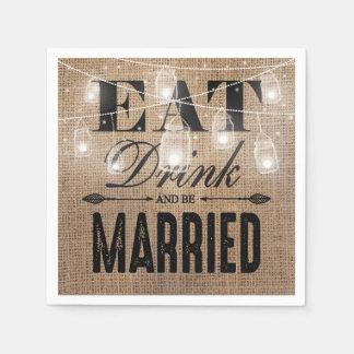 La arpillera rústica come la bebida y sea boda servilletas desechables