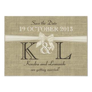 La arpillera y el arco ahorran la fecha invitación 11,4 x 15,8 cm