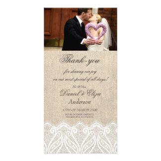 La arpillera y el boda del cordón le agradecen tar tarjeta con foto personalizada