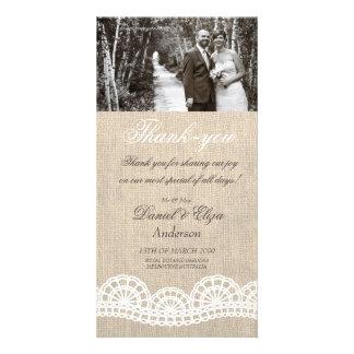 La arpillera y el boda del cordón le agradecen tar tarjetas fotograficas