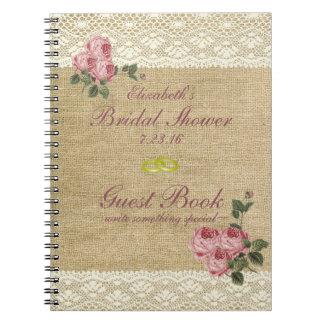 La arpillera y el cordón imprimen el libro de cuaderno