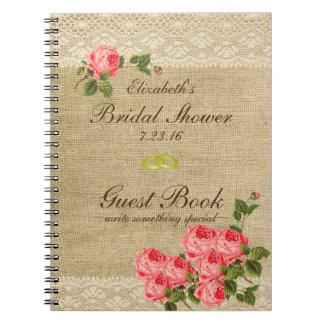 La arpillera y el cordón imprimen el libro de spiral notebooks