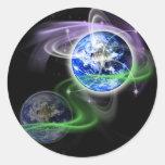 La ascensión de la tierra etiqueta redonda